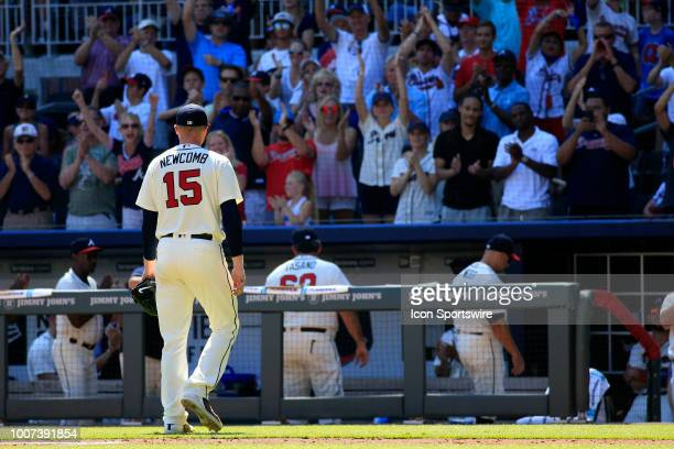 Atlanta Braves Starting pitcher Sean Newcomb leaves the game in the ninth inning during the MLB game between the Los Angeles Dodgers and the Atlanta...