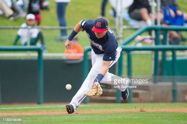 Atlanta Braves third baseman Austin Riley fields a ball in a Major League Baseball spring training game between the Washington Nationals and the...