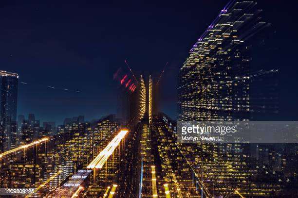 """atlanta building lights, abstract with in lens zoom effect - """"marilyn nieves"""" stock pictures, royalty-free photos & images"""
