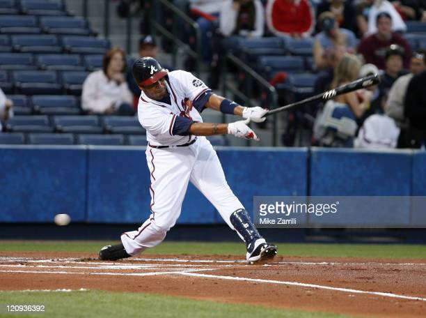 Atlanta center fielder Andruw Jones struck out twice during the game between the Atlanta Braves and the Washington Nationals at Turner Field in...