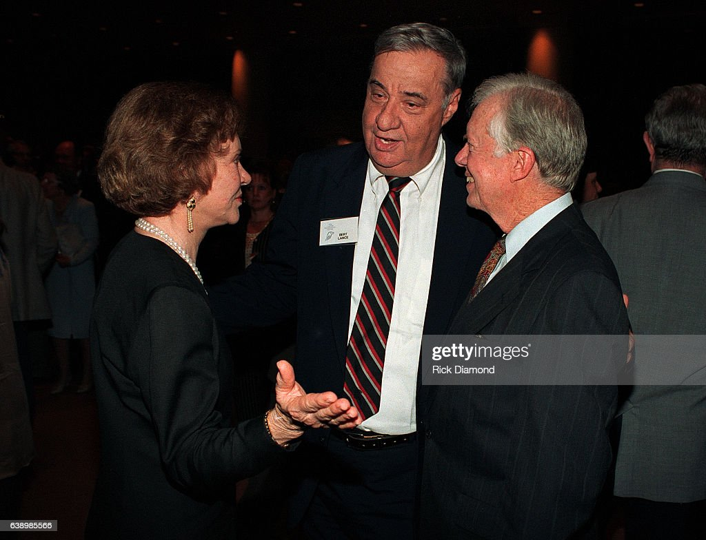Bert Lance Former Director of the Office of Management and Budget under Carter, Former First Lady Rosalynn Carter and Former President Jimmy Carter attend Former President Jimmy Carter surprise 70th. birthday party at The Carter Presidential Center in Atlanta Georgia October, 1994