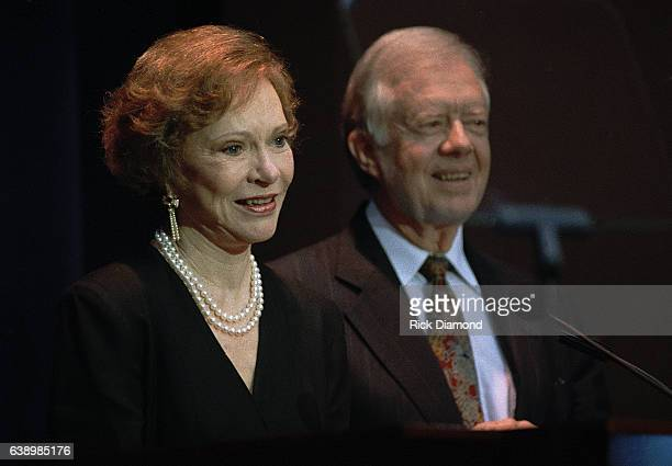 Atlanta Circa October 1994 Former First Lady Rosalynn Carter and Jimmy Carter attend Former President Jimmy Carter surprise 70th birthday party at...