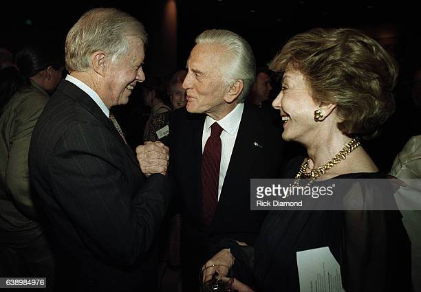 Former President Jimmy Carter Actor Kirk Douglas and Anne Douglas attend Former President Jimmy Carter surprise 70th birthday party at The Carter...