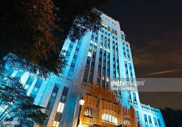 Atlanta City Hall is lit up with the rotating colors of Brazil with green yellow and blue in Atlanta Georgia on August 4 2016 The lights are in...