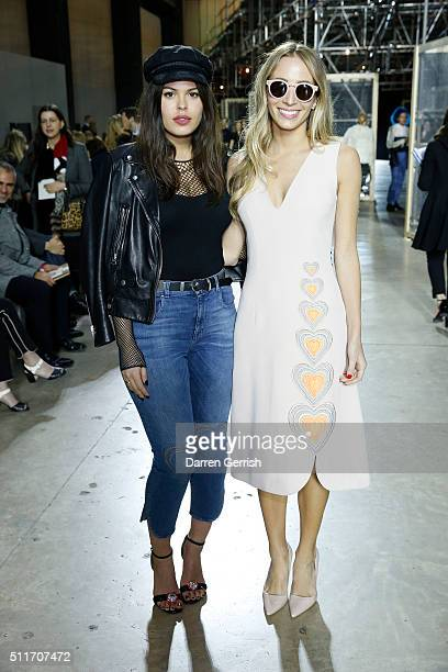 Atlanta De Cadenet and Harley Viera Newton attend Christopher Kane LFW AW16 show at Tate Modern on February 22 2016 in London England
