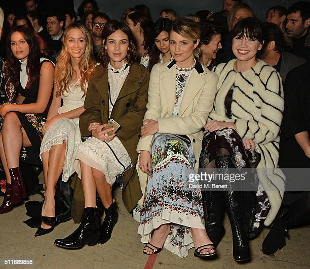 Atlanta De Cadenet Harley Viera Newton Alexa Chung Dianna Agron and Daisy Lowe attend the Erdem show during London Fashion Week Autumn/Winter 2016/17...
