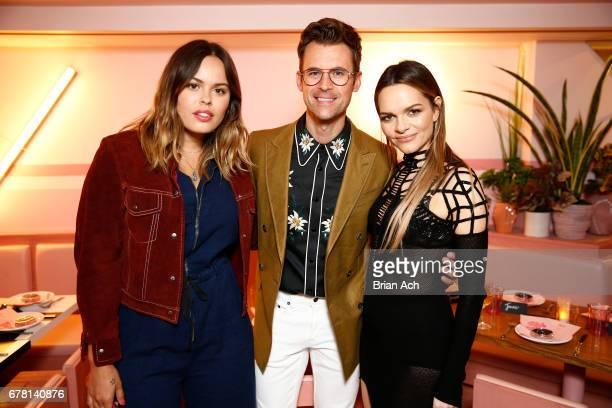 Atlanta De Cadenet Taylor Brad Goreski and Maria Hatzistefanis pose for a photo together as Hatzistefanis and Goreski host Rodial VIP Dinner on May 3...