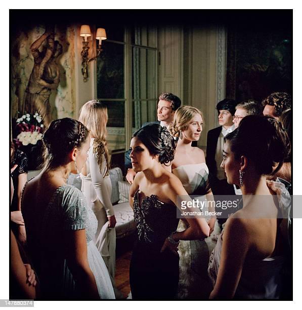 Atlanta de Cadenet Taylor Tallulah Willis and Elizabeth Woodward are photographed at the Crillon Debutante Ball for Vanity Fair Magazine on November...