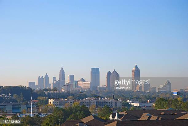 atlanta downtown and midtown skyline - atlanta skyline stock pictures, royalty-free photos & images