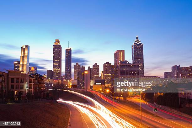 Atlanta Downtown skyline as seen from Jackson St bridge.