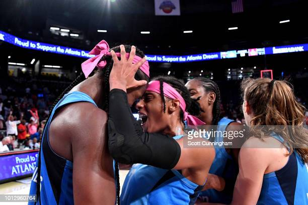Atlanta Dream celebrates after the game against the Las Vegas Aces on August 07, 2018 at McCamish Pavilion in Atlanta, Georgia. NOTE TO USER: User...
