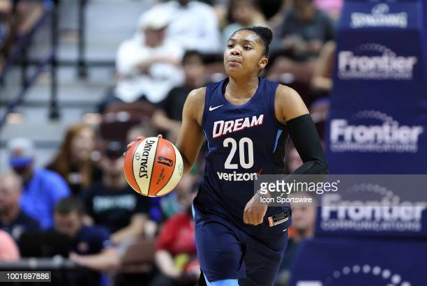 Atlanta Dream guard Alex Bentley with the ball during a WNBA game between Atlanta Dream and Connecticut Sun on July 17 at Mohegan Sun Arena in...