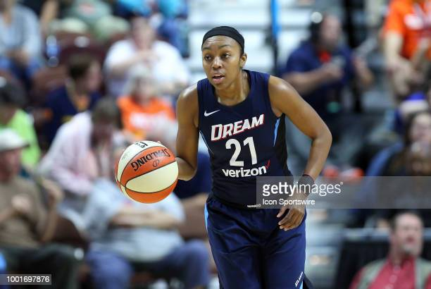 Atlanta Dream guard Renee Montgomery brings the ball up court during a WNBA game between Atlanta Dream and Connecticut Sun on July 17 at Mohegan Sun...