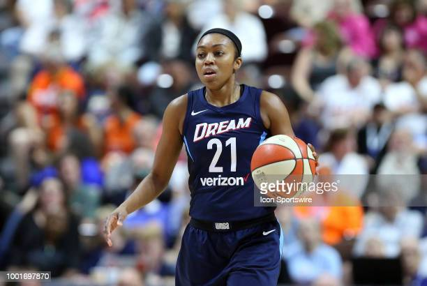 Atlanta Dream guard Renee Montgomery with the ball during a WNBA game between Atlanta Dream and Connecticut Sun on July 17 at Mohegan Sun Arena in...