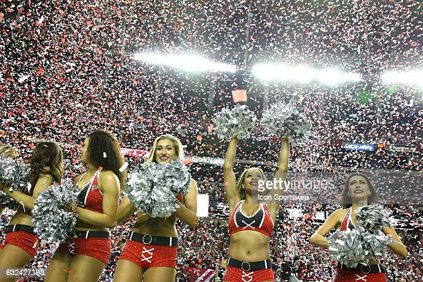 Atlanta Falcons cheerleaders celebrate after the NFC Championship Game game between the Green Bay Packers and the Atlanta Falcons on January 22 at...