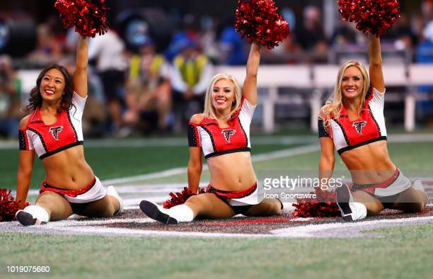 Atlanta Falcons cheerleaders on the field before the NFL preseason game between the Kansas City Chiefs and the Atlanta Falcons on August 17 2018 at...