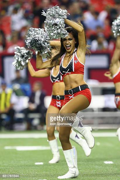Atlanta Falcons cheerleaders perform before the NFC Divisional Playoff game between the Seattle Seahawks and the Atlanta Falcons on January 14 at the...