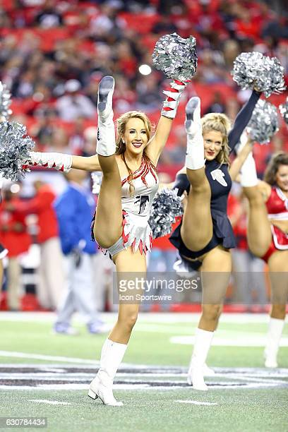 Atlanta Falcons cheerleaders perform before the NFL game between the New Orleans Saints and the Atlanta Falcons on January 01 at the Georgia Dome in...