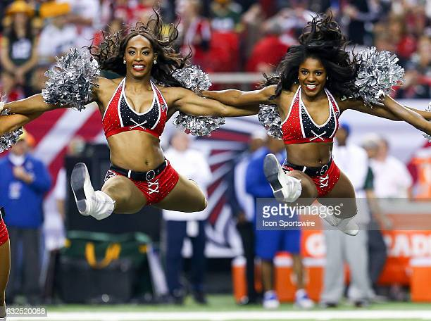 Atlanta Falcons cheerleaders perform during the NFC Championship Game game between the Green Bay Packers and the Atlanta Falcons on January 22 at the...