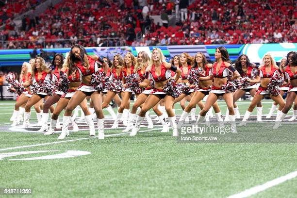 Atlanta Falcons cheerleaders perform during the NFL game between the Green Bay Packers and the Atlanta Falcons on September 17 at the MercedesBenz...