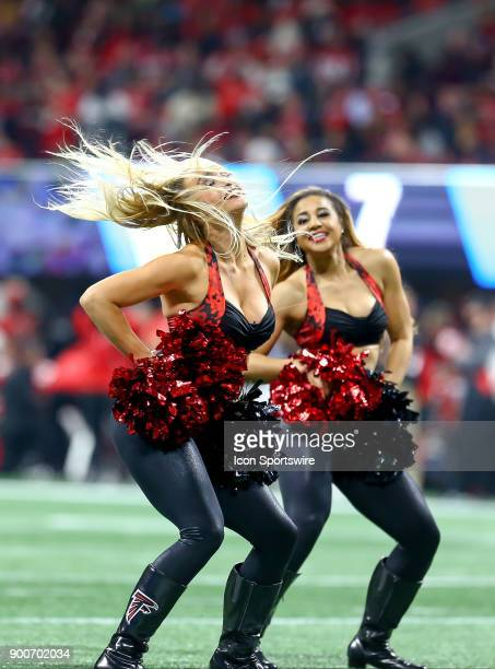 Atlanta Falcons cheerleaders perform during the NFL game between the Carolina Panthers and the Atlanta Falcons on December 31 2017 at the...