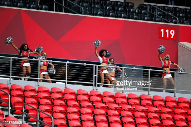 Atlanta Falcons cheerleaders perform prior to an NFL game against the Chicago Bears at Mercedes-Benz Stadium on September 27, 2020 in Atlanta,...