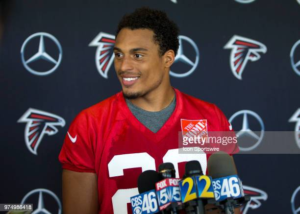 Atlanta Falcons cornerback Isaiah Oliver speaks to the media following Atlanta Falcons minicamp at Falcons headquarters