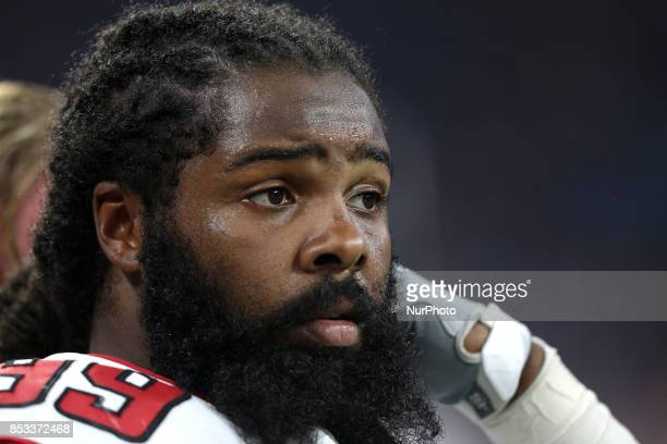 Atlanta Falcons defensive end Adrian Clayborn is seen during the second half of an NFL football game against the Detroit Lions in Detroit, Michigan...