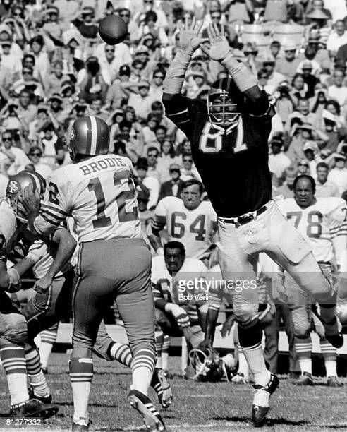 Atlanta Falcons defensive end Claude Humphrey tries to block a pass by San Francisco 49ers quarterback John Brodie in a 2120 win over the San...