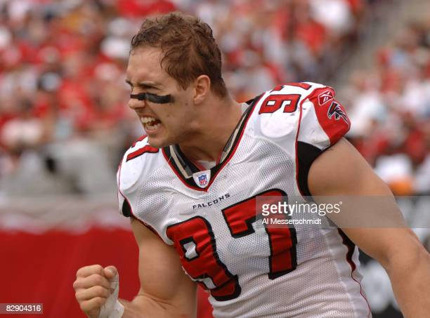 Atlanta Falcons defensive end Patrick Kerney yells encouragement during play against the Tampa Bay Buccaneers December 24 2005 in Tampa The Bucs...