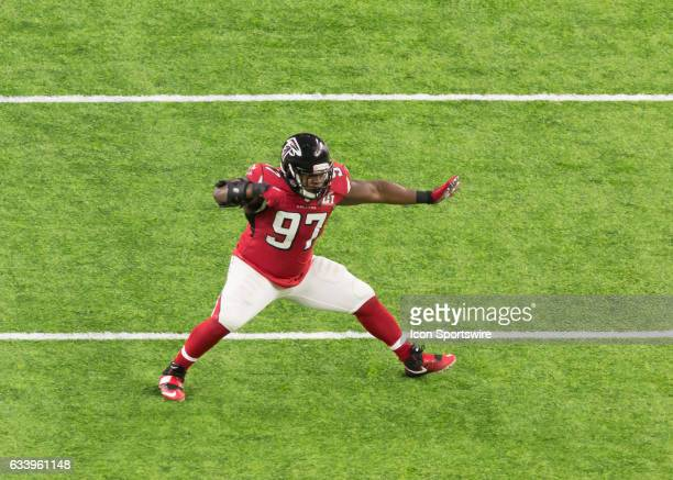 Atlanta Falcons defensive tackle Grady Jarrett celebrates after sacking New England Patriots quarterback Tom Brady during the Super Bowl LI between...