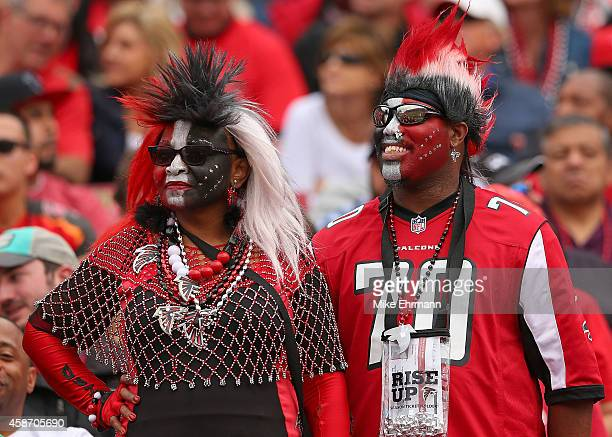 Atlanta Falcons fans look on during the second half of the game against the Tampa Bay Buccaneers at Raymond James Stadium on November 9 2014 in Tampa...