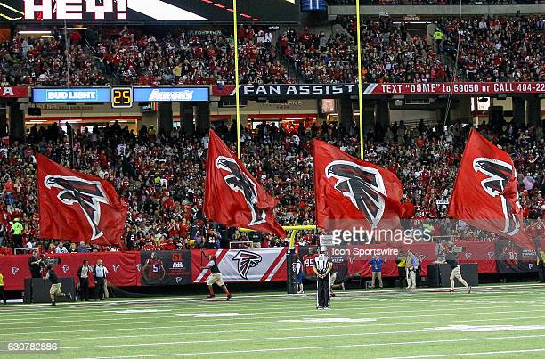 Atlanta Falcons flag crew celebate after a touchdown during the NFL game between the New Orleans Saints and the Atlanta Falcons on January 01 at the...