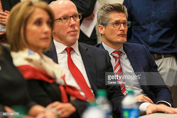 Atlanta Falcons general manager Thomas Dimitroff looks on during a press conference for new head coach Dan Quinn at the Atlanta Falcons Training...