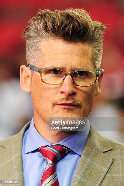 Atlanta Falcons general manager Thomas Dimitroff looks on during warm ups prior to the preseason game against the Miami Dolphins at the Georgia Dome...