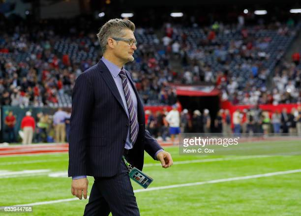 Atlanta Falcons general manager Thomas Dimitroff looks on during warm ups prior to Super Bowl 51 against the New England Patriots at NRG Stadium on...
