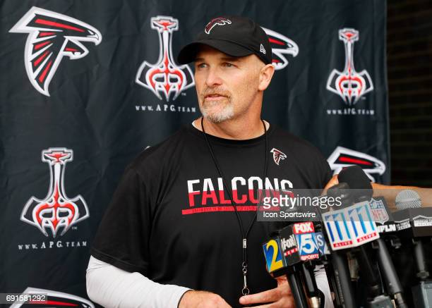 Atlanta Falcons head coach Dan Quinn speaks after a football practice in Flowery Branch Ga