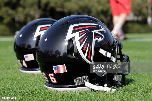 Atlanta Falcons helmets on the field during the Super Bowl LI practice on February 2 2017 in Houston Texas