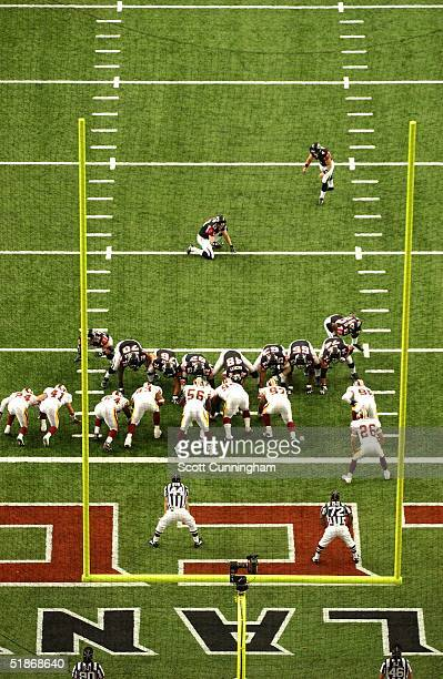 Atlanta Falcons Kicker Jay Feely lines up for an extra point against the Washington Redskins The Redskins won the game 3331 on September 14 2003