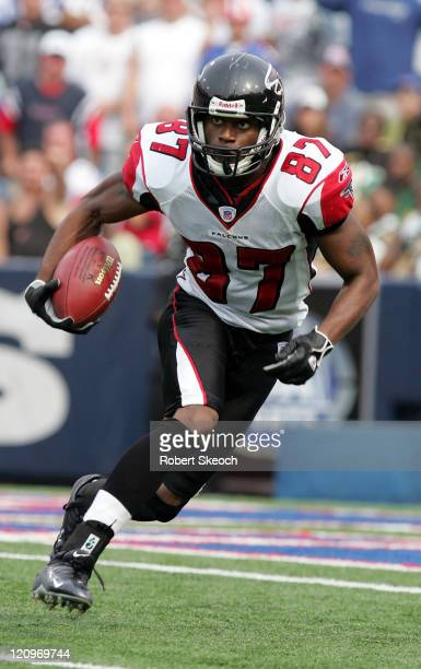 Atlanta Falcons kickoff return Romby Bryant moves the ball upfield during the game against the Buffalo Bills at Ralph Wilson Stadium in Orchard Park...