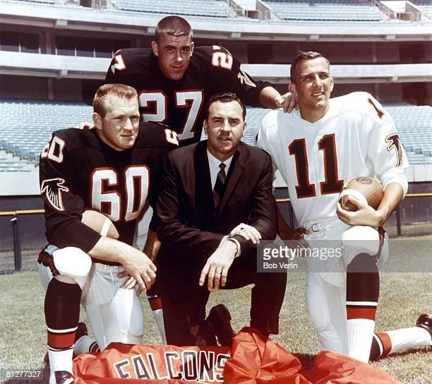 Atlanta Falcons linebacker Tommy Nobis safety Nick Rassas head coach Norb Hecker and quarterback Randy Johnson circa 1966