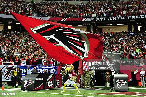 Atlanta Falcons mascot Freddie Falcon runs on to the field prior to the NFC Championship Game against the Green Bay Packers at the Georgia Dome on...