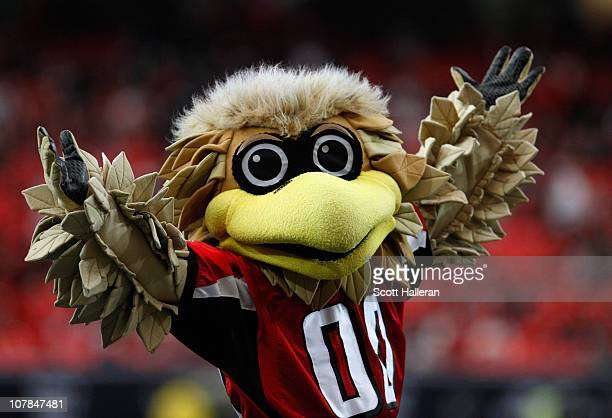 Atlanta Falcons mascot Freddie is seen on the field during the game against the Carolina Panthers at the Georgia Dome on January 2 2011 in Atlanta...