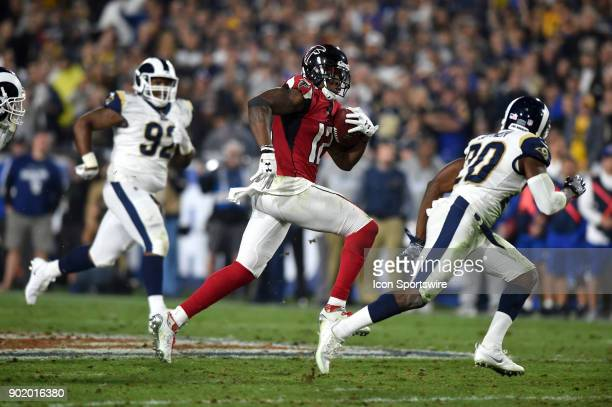 Atlanta Falcons Mohamed Sanu runs the ball for a big gain during the NFC Wild Card football game between the Atlanta Falcons and the Los Angeles Rams...