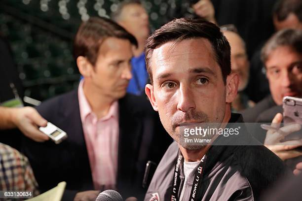 Atlanta Falcons offensive coordinator Kyle Shanahan speaks with the media during Super Bowl 51 Opening Night at Minute Maid Park on January 30 2017...
