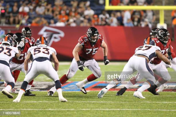 Atlanta Falcons offensive guard John Wetzel blocks during the Hall of Fame Game between the Atlanta Falcons and the Denver Broncos played at Tom...