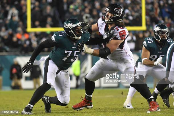 Atlanta Falcons offensive tackle Jake Matthews blocks Philadelphia Eagles defensive end Vinny Curry during the NFC Divisional Playoff game between...