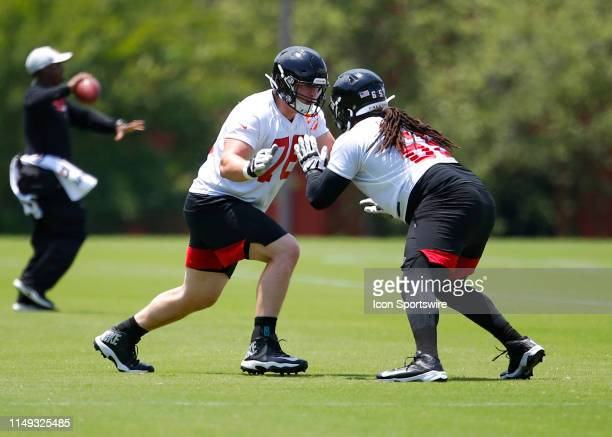 Atlanta Falcons offensive tackle Kaleb McGary runs through a drill during Atlanta Falcons minicamp in Flowery Branch GA
