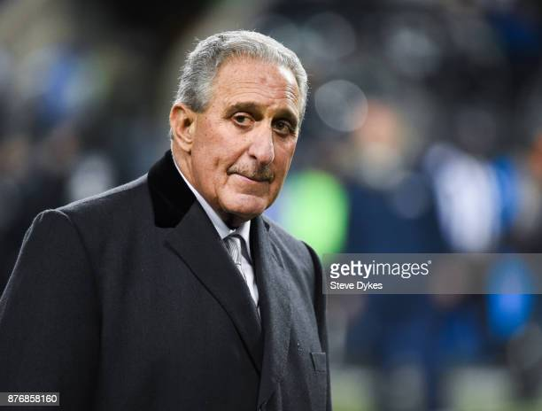 Atlanta Falcons owner Arthur Blank walks on the sidelines before the game against the Seattle Seahawks at CenturyLink Field on November 20 2017 in...
