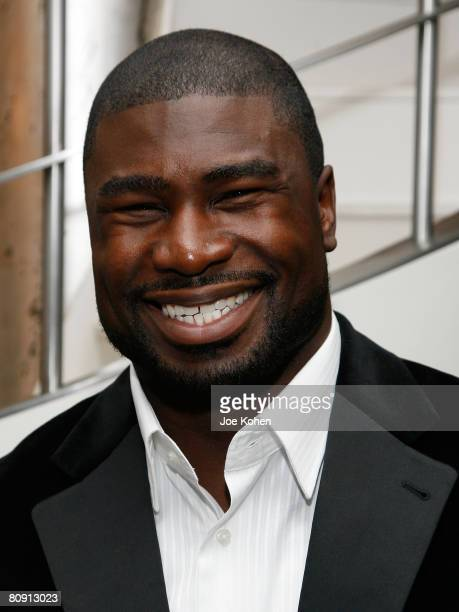 Atlanta Falcons player Ovie Mughelli attends Captain Planet Goes Green NYC reception party hosted by Ted Turner on April 24, 2008 in New York City.